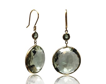 Natural 39 cttw Prasiolite Sapphire 14K Yellow Gold Dangle Earrings Green Amethyst Gemstone February Birthstone Earrings