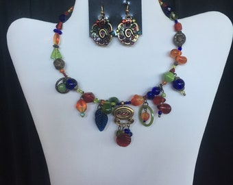 Multi-colored Boho Open Choker with Earrings