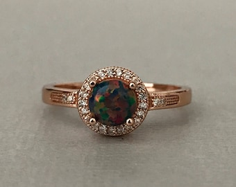 14K Solid Rose Gold Halo Round Black Fire Opal Simulated Diamond Engagement Wedding Promise Ring Women's October Birthstone Ring