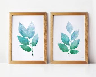 Nature art wall prints, Printable art set, Blue Green Leaves, 5x7 prints, PRINTABLE wall art Set of 2 prints, 5x7 Botanical Bathroom decor
