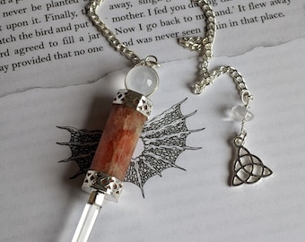 Sunstone & clear quartz Pendulum with crystal ball, Triquetra Wand