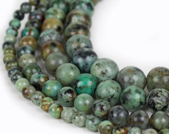 "Natural African Turquoise Beads, Full 15.5"" Strand Natural Round Wholesale 4mm 6mm 8mm 10mm 12mm"