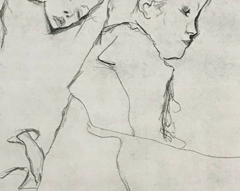 "Egon Schiele ""Two Little Girls"" from Egon Schiele-As a Draughtman by Otto Denesch, 1950, 9.25 x 13.5 inches"