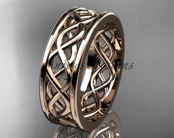 Rose gold engagement ring, 14kt rose gold vine wedding band, engagement ring ADLR257G