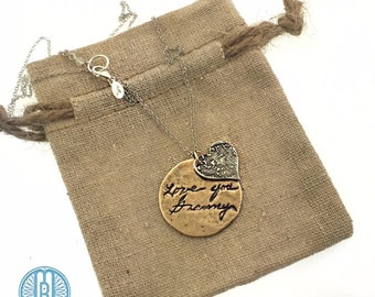 Actual writing pendant with separate fingerprint charm