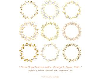 Circle Floral Frames - Yellow Orange & Brown Color -  Floral Wreath - Wedding Floral - Wedding Wreath - Flower Digital Clip Art