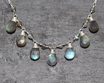 Labradorite & Sterling Silver Bib Necklace. Flashy Blue AAAA Gemstone Jewelry. Wire Wrapped Semi Precious Bead Necklace. Statement Jewellery