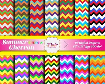 80% OFF SUMMER COLORS Chevron Digital Papers for Scrapbooking, Invitations, Craft Supplies, Pattern Paper, Bright Colors, Backgrounds