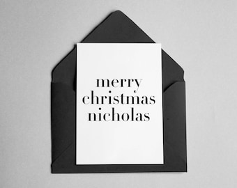 """Personalized Christmas Card - Contemporary Minimalist - """"Merry Christmas *Name*"""""""