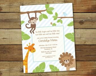 jungle baby shower invitation, printable baby shower invitation, DIY shower invite, jungle animals, safari-theme