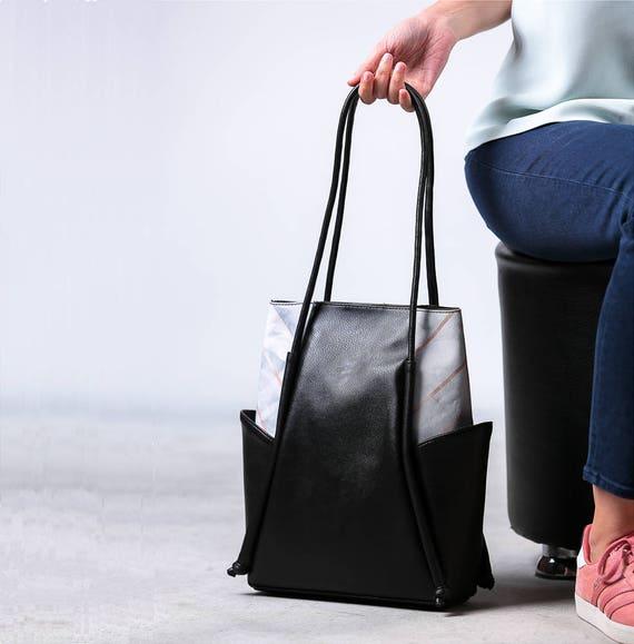 Black leather shoulder bag, Vegan leather bag, Mothers Day Gift, Leather and Canvas Bag, Minimalist Hobo bag, Leather tote bag, Everyday Bag