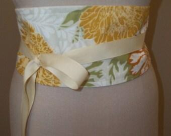 Sash Belt, Obi Belt, Orange Floral Sash, Wrap & Tie Belt