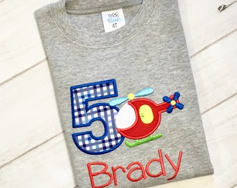 Helicopter 5th Birthday Shirt -Embroidered and Personalized - Available For Any Age