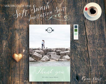 Watercolor Vine Soft Swash - Thank You Card - Photo Card - Elegant - Printed Invitation, Printable Invitation