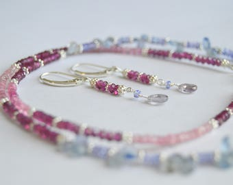 Beaded Sapphire, Tourmaline, Tanzanite, Spinel, Grape Garnet Necklace with Sterling Silver and Free Earrings