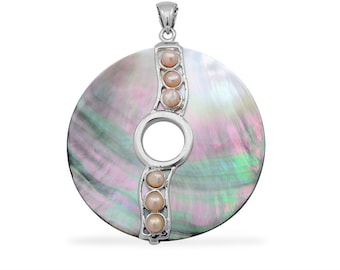Gray Shell, Freshwater Pearl Pendant Silver-Tone Without Chain