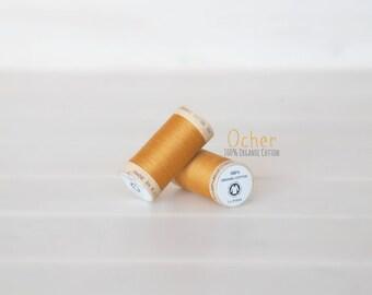 Organic Cotton Thread GOTS - 300 Yards Wooden Spool  - Thread Color Ocher - No. 4826 - Eco Friendly Thread - 100% Organic Cotton Thread