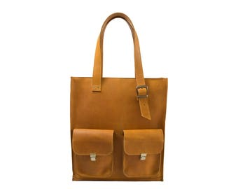 Large tote bag, everyday bag, leather bag women, shoulder bag women, teacher tote bag, tote bag with pockets, woman leather bag, yellow