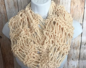 Scarf, Hand Knit Scarf, Infinity scarf, cowl, neckwarmer, circle scarf, Ready to Ship