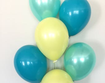 Teal Yellow and Mint Balloon Bouquet | Teal and Yellow Balloons | Yellow and Mint Balloons | Birthday Balloons | Gender Neutral Baby shower