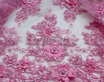 New ROSE pink/beige/yellow 3D flowers pearls sequins evening/wedding/show dress lace fabric 47'' width pink lace fabric JD1701