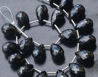 5 Matched pair of GORGEOUS,Best Cut, 10X14MM, BLACK SPINEL Faceted Drops Shape Briolettes,Best Quality