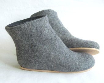 Grandmother Gift Ankle Boots Valenki Organic Wool Felt Boots Uggs, Felt Sheep Wool Slippers Boots Women, Felted Boots Cork Soles, Good Vibes