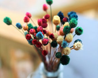 Happy flowers-45 stems or more here-Tiny dried flowers-Dried Mini Wedding flowers-pink-purple-yellow-green small flowers