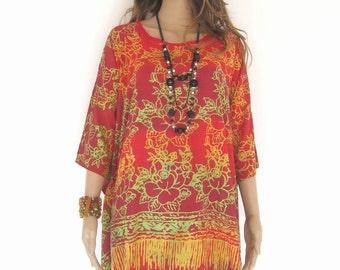 Plus Size, Chilli Red, Batik Dress, Tunic Dress, Caftan Dress, Kaftan Dress, Pregnant Dress, Maternity Dress, Beach Coverup, Womens Dresses