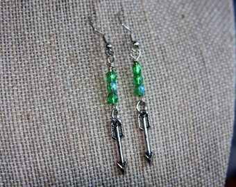Arrow Earrings, Green Arrow Earrings, Arrow Earrings with Green Beads, Comic Book Earrings, TV Show Earrings