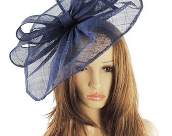 Commodore Navy Blue Fascinator Hat for Weddings, Races, and Special Events With Headband
