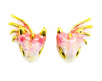 Gold Topaz Dragon Stud Earrings