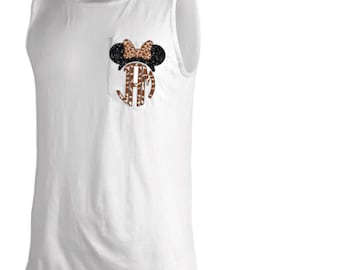 Disney T Shirt Monogram Minnie Mouse Pocket Tank - Disney Monogram Pocket  Tank Top - Giraffe