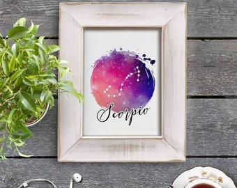 Scorpio Zodiac Sign Horoscope Constellation Galaxy 8x10 inch Poster Print - P1182