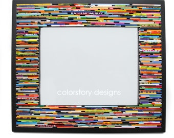 LARGE colorful picture frame - made from recycled magazines, blue, green, red, purple, pink, yellow, orange