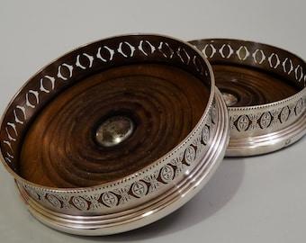 Antique English Silver Plate Wine Bottle Coasters Ellis