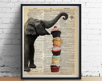 ELEPHANT Cupcakes Art Print Party Cake Animal Print Illustration Kitchen Cafe Wall Decor Poster Antique Dictionary Book Page