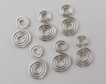 Silver wire spiral charms or dangles, 6pcs in silver plated 20ga wire, double spirals, hand crafted jewelry supplies, more available.