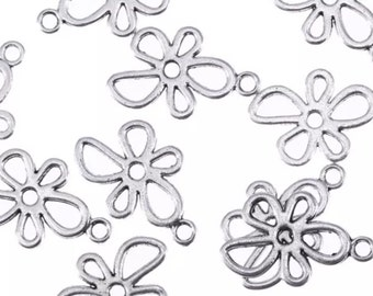2-Antique silver 20mm charms, flower beads,flower charms, crafts antique silverAntiqued silver charms, retro flower charms, SC324),Ships USA