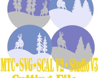 Nature Scene Holiday Gift Tag Designs 02 Cut Files MTC SVG SCAL v2 Digital Format Set of 4