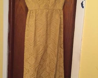 1960s Shift Dress, Mustard yellow vintage dress, Anthony Dulce