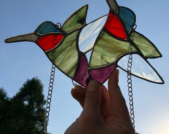Stained Glass Hummingbird Air Plant Holders