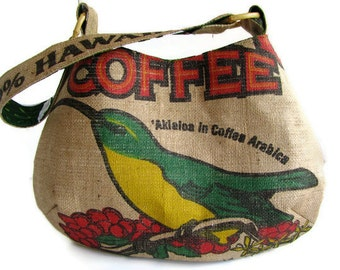 Ready to Ship for Mother's Day. Alfred Shaheen Vintage Handprint in Tiare Tapa-Green. Repurposed Burlap Coffee Bag Hobo Handbag and Purse.