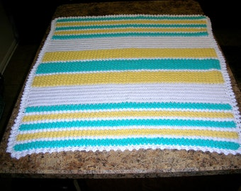 Turquiose, Yellow and White Striped Baby Afghan