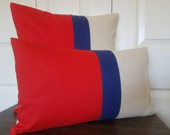 Red Blue Color Block Pillow Cover Linen Pillow Decorative Throw Pillows Cushion Covers Accent Linen Pillow Covers Pillow Colorblock Pillows