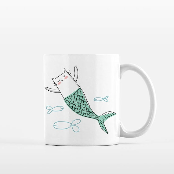 Cat Mermaid Cat Mug, Mermaid Mug, Unique Gift for Friend Girlfriend Gift for Her, Cat Coffee Mug, Funny Mug Fun Mug Cute Mug, Cat Coffee Cup