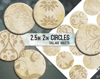 Vintage Paper Patterns 2.5 Inch and 2in Circle Download Printable Images for Gift Tags Cards Scrapbooking JPG