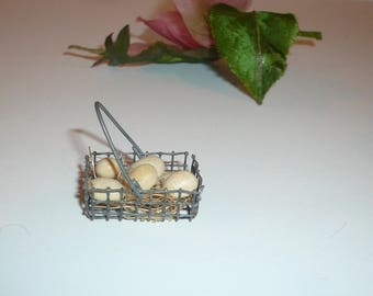 Dollhouse Miniature Eggs in Wire Basket Kitchen Miniature Collectible By VintageReinvented