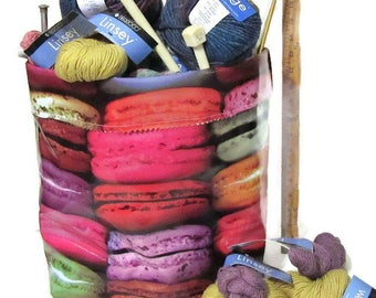 Oilcloth Storage Yarn/Supplies Holder Sweet Treats Theme For DIY Knit/Crochet/Fiber Projects