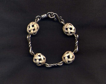 Sterling Silver Twisted Link & Carved Bone Beads